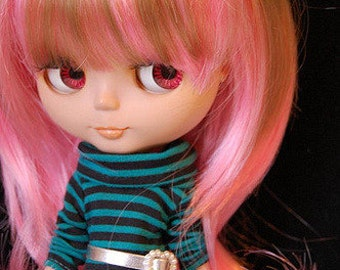 Pink and Blonde Cute Curl Wig  for Blythe Dolls