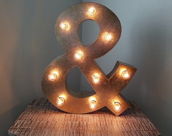 """16"""" Silver Gold Metal Light Up Ampersand Marquee Chic Sign"""