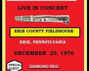 RUSH concert poster Erie County Fieldhouse Erie Pennsylvania 1976 11inches by 17 inches and Laminated to last for many years