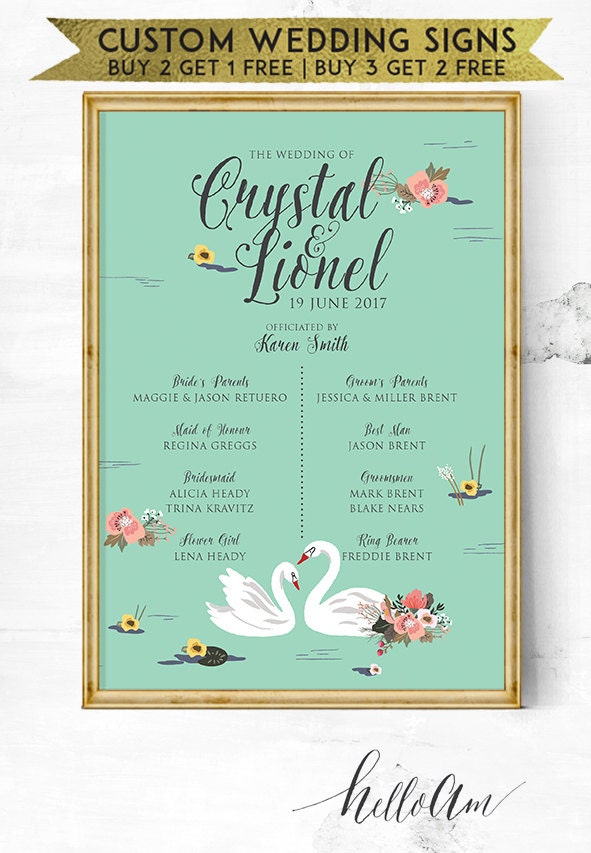 wedding program - wedding reception - wedding entrance sign ...