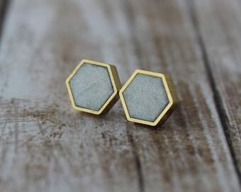 Silver Hexagon Stud Earrings, Brass Frame, Silver and Gold Stud Earrings, Hexagon Studs