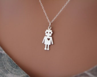 Sterling Silver Robot Charm Necklace, Robot Pendant Necklace, Robot Necklace, Silver Robot Necklace, Robot with Heart Charm Necklace