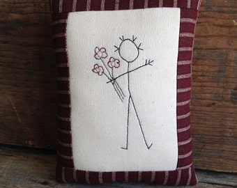 FLOWERS Pillow. Hand drawn. Hand-stitched. Small Pillow. Postcard sized. Embroidery. Flowers Gift. Love Gift. Handmade Gift. Give Flowers.