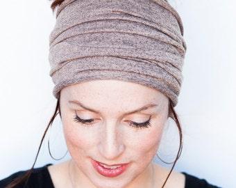 Beige Headband - Knit Headband Wide Headband Tube Headband Workout Headband Fitness Headband Running Headband Winter Hat Beige Headwrap