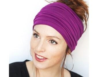 Magenta Headband -  Wide Headband Yoga Headband Boho Headband Running Headband Womens Hair Accessories Large Headwrap Hair Thinning Headband