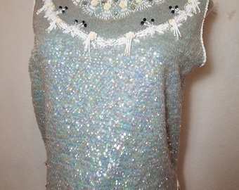 FREE  SHIPPING     1950 Sequin Bead  Sweater