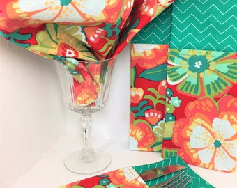 Cloth Napkins Red Teal Flowers. Set of 2 Handmade Napkins, Double Sided Red Teal Dinner Napkins, Teal Chevron Reversible Cloth Napkins