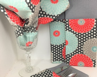 Zinnia Cloth Napkins. Set of 2 Handmade Napkins, Double Sided Coral Gray Dinner Napkins, Aqua, Coral, Grey Reversible Napkin, Modern Kitchen