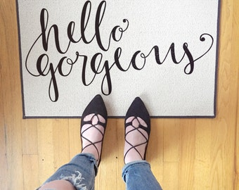 Welcome Door Mat Hello Gorgeous Doormat, Rug, Calligraphy, Indoor/Outdoor 18x27 by Be There in Five