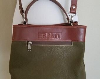 90s Vintage Esprit Purse Olive & Brown