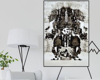 "Black and White Original Art, Abstract Large Drawing, Ink Art, Modern Wall Art, 40""x28"", 100cmx70cm"