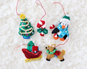 CHRISTMAS TREE ORNAMENTS | penguin, candy cane, christmas tree, santa's sleigh, & reindeer felt ornaments, set of five