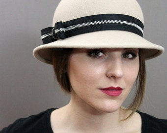 Tan Wool Felt Hat with Zipper Band and Bow