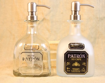 Recycled Patron or Patron XO Frosted Bottle, Liquor Bottle Dispenser, Patron Soap or Lotion Dispenser, Patron 750ml Liquor Bottle,