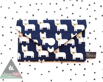 Business Cards Case / Credit Cards Case : French Bullies Dark Blue & White