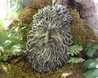 Greenman Statue,Celtic Greenman,The Spirit of Greenman,Nature Spirit Greenman Wall Plaque,Tree Spirit Statue,Woodland Plaque,Hand Cast Stone