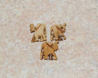 1 Elephant Bead Focal Pendant Carved Bone