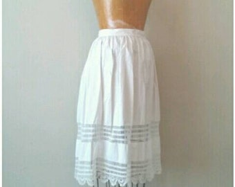 Edwardian White Cotton Crochet Half Slip, Undergarments, Antique Half Cotton Slip with Torchon Lace, Beggars Lace Slip, 1910s Slip, Small