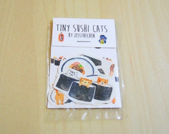 Tiny Sushi Cat Stickers 4pk