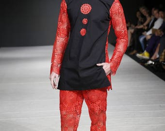 Men Linen Shirt and Pants With Embroidery