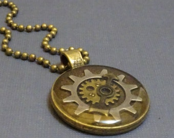 Steampunk Necklace, Gears and Watch Parts Set in Resin, Antique Bronze, Steam Punk, Gear, 2029