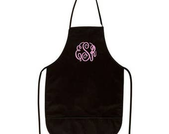 Black Adult Apron with Pockets and Embroidery Personalization