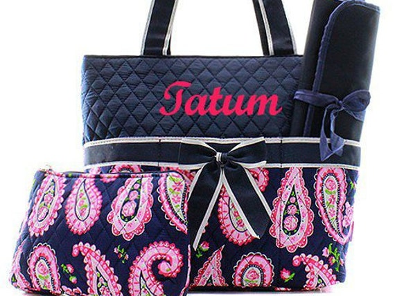 personalized diaper bag monogrammed navy paisley diaper bag. Black Bedroom Furniture Sets. Home Design Ideas
