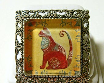 Contemporary cat pendant/brooch with chain - CAP35-002