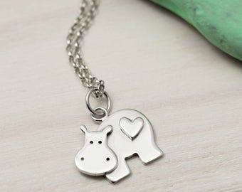 Sterling Silver Hippo Necklace - Hippo with a Tiny Heart - Hippo Jewellery - Animal Necklace - Hippo Gifts