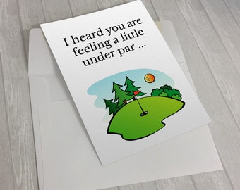I heard you are feeling a little under par,Get Well Soon Card, Funny Get Well Card, Get Well Soon Package, Hospital Gift , Golf Gift For Men