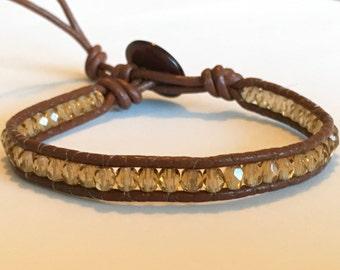 Brown and smokey topaz Bohemian Wrap bracelet czech glass beads and leather cord