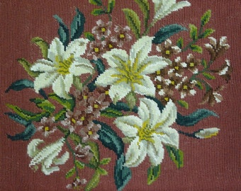 """UNFINISHED Canvas Needlepoint Piece,  """"Lily Bouquet"""""""