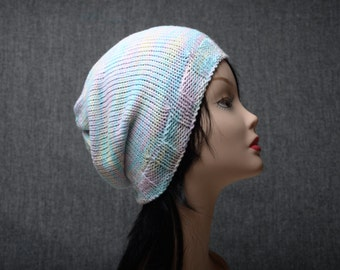 pastel knit slouchy hat, slouchy beanie, slouchy womens hat, womens beanie, knitting hat