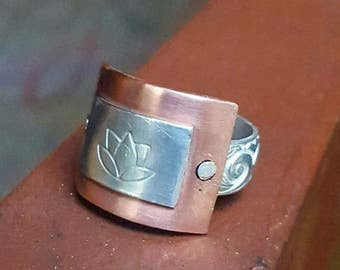 Lotus flower mixed metal ring