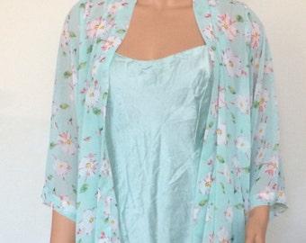 blue slip dress & floral robe set