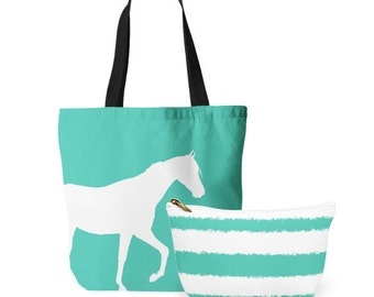 Horse Tote Bag, Cosmetic Bag, Tote and makeup bag set, gifts for her, Accessory Pouch