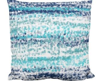 Throw Pillow Cover, Navy Teal Aqua White (A22) Decorative Pillow Cover Euro Sham Cover