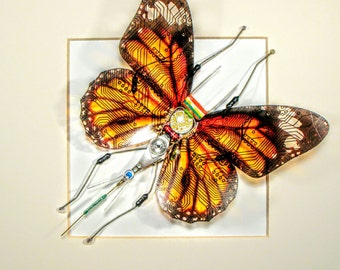 Circuit Board Butterfly- Orange Butterfly - Monarch Butterfly - Birthday Present - Art Sculpture - Recycled Circuit Board - Steampunk Gift.