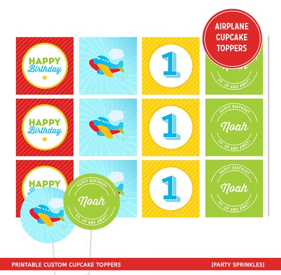 Airplane Birthday Party Favor Tags: Printable Airplane Pilot Birthday Cupcake Toppers