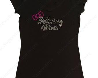 "Women's Rhinestone T-Shirt "" Birthday Girl with Pink Bow "" in S, M, L, 1x, 2x, 3x"
