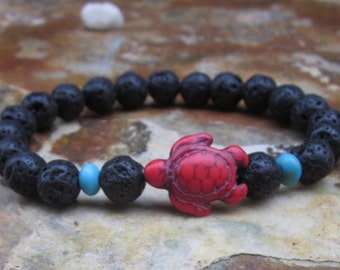 turtle bracelet black lava stone Beaded bracelet mens bracelet women's bracelet Bohemian southwestern red turquoise mala oil diffuser