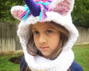 Crochet Unicorn cowl, crochet cowl, hooded cowl, knit cowl, chunky cowl, cowl scarf, toddler girl hooded cowl, Unicorn cowl, animal cowl