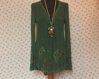 vintage romantic top,  embroidered , boho chic, romantic dress,  green tulle shirt