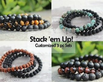 Mens Bracelet Set Customized Bracelets Lava Onyx Bracelet Mens Gift Boyfriend Gift Dad Gift Mens Beaded Bracelet