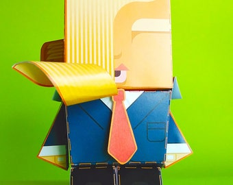Donald Trump paper toy - DIY paper craft activity kit - Great gift for kids and crafters - DIGITAL DOWNLOAD