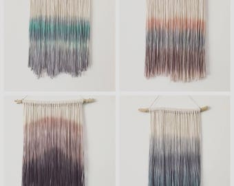 Dip Dyed Yarn Wall Hanging - Tapestry - Boho Decor - Dyed Yarn Wall Hanging - Wall Decor - Fiber Art - Size: Small -CUSTOM