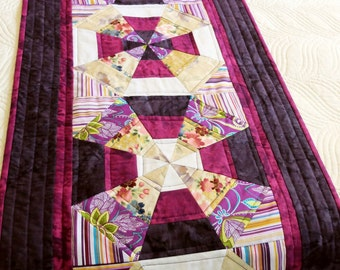 Patchwork quilted Queen bed runner or extra long table runner, purple kaleidescope style runner, modern bedroom decor