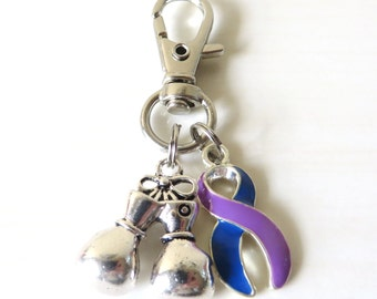 Purple Royal Blue Rheumatoid Arthritis Awareness Zipper Pull Key Chain YOU Select Charms