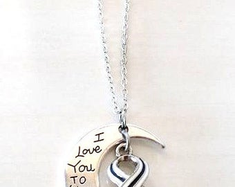 ALS Lou Gehrigs Disease Awareness I Love You To the Moon and Back Necklace You Select Chain Material and Length
