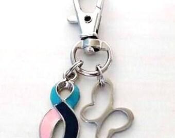 Thyroid Cancer Disease Awareness Butterfly Zipper Pull Key Chain Hashimotos Graves Lupus Hypothyroid Hyperthyroid
